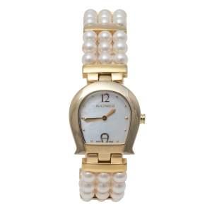 Aigner MOP Gold Tone Stainless Steel & Faux Pearl La Spezia A03300 Women's Wristwatch 28 mm