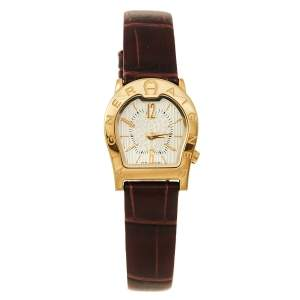 Aigner Gold Tone Stainless Steel Leather Verona Nuovo A22200 Women's Wristwatch 24 mm
