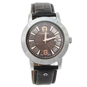 Aigner Brown Stainless Steel Leather Cortina A26000 Unisex Wristwatch 42 mm