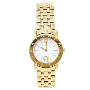 Aigner White Mother of Pearl Gold Plated Stainless Steel Cortina A26200 Women's Wristwatch 29 mm