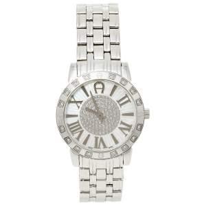 Aigner Silver Stainless Steel Diamond Cortina A26300 Women's Wristwatch 36 mm