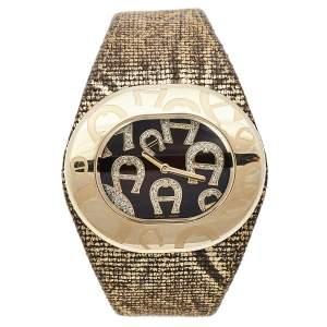 ساعة يد نسائية أيغنر رافيللو ديو A21000 ستانلس ستيل مطلي ذهبي بنية 43مم