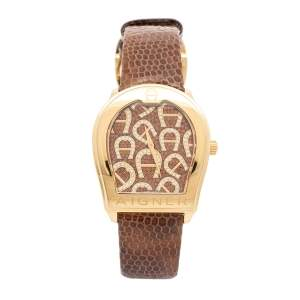 Aigner Gold Plated Stainless Steel Leather Verona A48000 Women's Wristwatch 39 mm