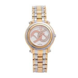 Aigner White Two-Tone Rose Gold Plated Stainless Steel Bologna A55200 Women's Wristwatch 35 mm