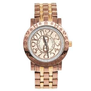 Aigner Champagne Two-Tone Stainless Steel Cortina A26300 Women's Wristwatch 35 mm
