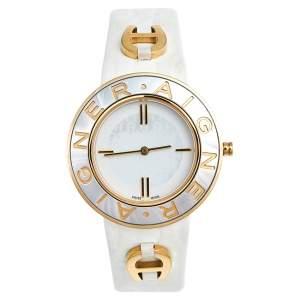ساعة يد نسائية أيغنز أفيرسا A51300 جلد ستانلس ستيل صدف ثنائي اللون 35 مم