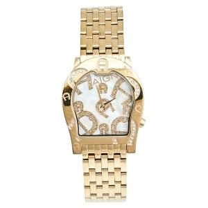 ساعة يد نسائية آيغنر رافينا نوفو A25100 صدف ستانلس ستيل مطلي ذهب 33 مم