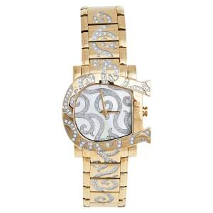 Aigner Mother of Pearl Gold Plated Stainless Steel Genua Due A31600 Women's Wristwatch 33 mm