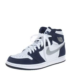 Air Jordan Blue/White Suede And Leather 1 Retro COJP High Top Sneakers Size 38