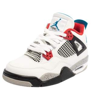 """Air Jordan White Leather 4 Retro GS """"What the"""" Sneaker Size 38"""