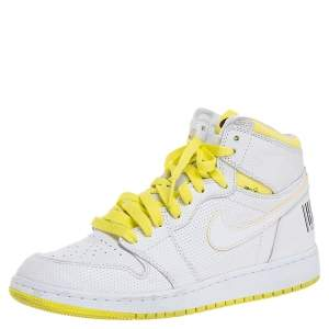 Air Jordan White Leather 1 Retro High First Class Flight High Top Sneakers Size 38.5