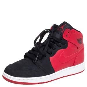 Air Jordan Red/Black Leather  1 Retro High Top Sneakers Size 38.5