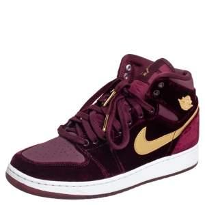 Air Jordans 1 Retro Night Maroon Velvet Heiress Sneakers (GS) Size 38