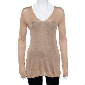 Akris Beige V-Neck Silk Knit Sweater M