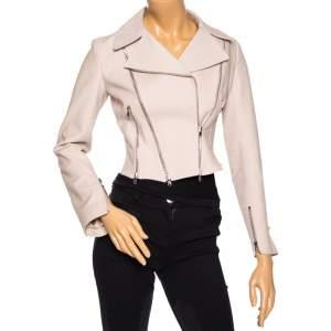 Alaia Light Taupe Textured Cotton Cropped Moto Zip Jacket M