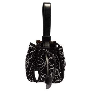 Alaia Black Suede And Leather Crystal Embellished Rose Marie Mini Bucket Bag