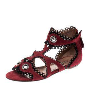 Alaia Maroon Suede Scallop Trim Eyelet Embellished Ankle Cuff Flat Sandals Size 35