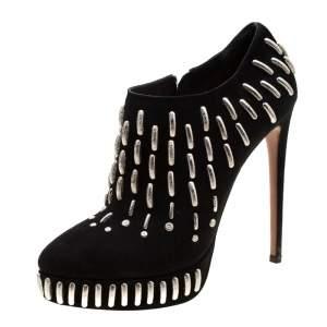 Alaia Black Suede Embellished Platform Ankle Boots Size 39.5