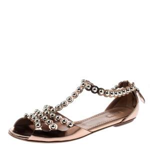 Alaia Brown Leather Studded T Strap Flat Sandals Size 40