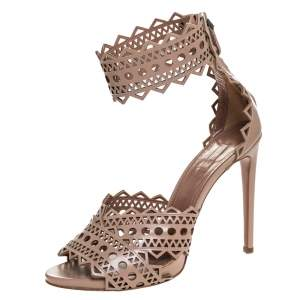 Alaia Beige Leather Laser Cut Out Sandals Size 40