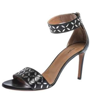 Alaia Black Studded Leather Open Toe Ankle Cuff Sandals Size 38.5