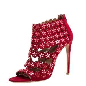 Alaia Red Suede Leather Mirror Embellished Laser Cut Out Open Toe Sandals Size 40