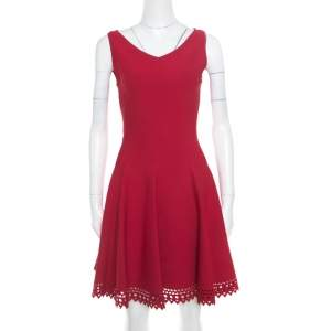 Alaia Ruby Red Stretch Knit Laser Cut Hem Detail Flared Mini Dress M