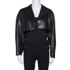 Alaia Black Leather Open Front Cropped Jacket M