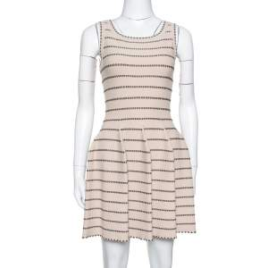 Alaia Beige & Brown Dotted Knit Fit & Flare Dress S
