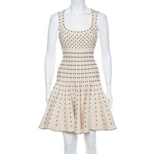 Alaia Monochrome Wool Dobby Dotted Sleeveless Flared Dress M