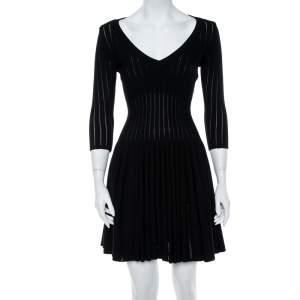 Alaia Black Perforated Rib Knit Fit & Flare Dress M