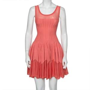 Alaia Pink Striped Knit Flared Sleeveless Flared Dress M