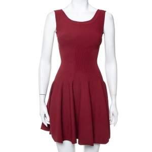 Alaia Burgundy Knit Sleeveless Skater Dress S
