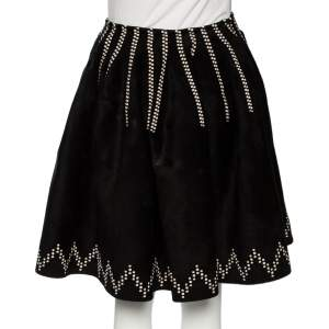 Alaia Black Patterned Felted Wool Flared Skirt M