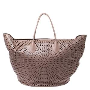 Alaia Pink Leather Laser Cut Mina Shopper Tote