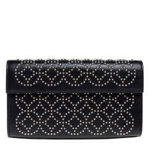 Alaia Black Leather Studded Clutch
