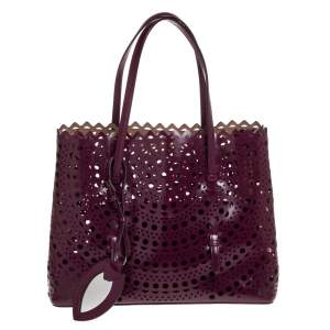 Alaia Plum Leather Mina 32 Tote