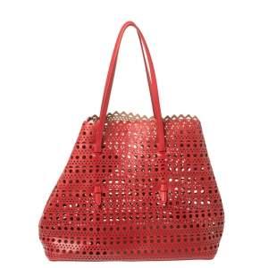 Alaia Red Lasercut Leather Mina Tote
