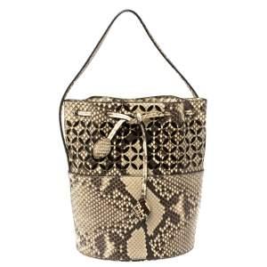 Alaia Beige/Black Python Drawstring Bucket Bag