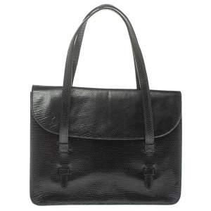 حقيبة يد علايا قلاب جلد سحلية أسود
