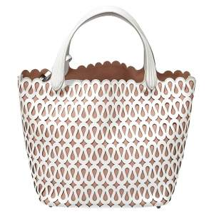 Alaia White/Pink Leather Laser Cut Tote