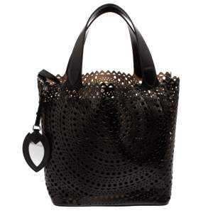 Alaia Black Leather Mina Mini Laser Cut Tote