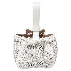 Alaia White Leather Rose Marie 16 Clutch Bag