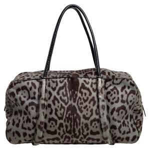 Alaia Brown/Black Leopard Calfhair and Leather Duffel Bag