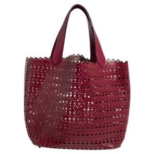 Alaia Red Leather Laser Cut Tote