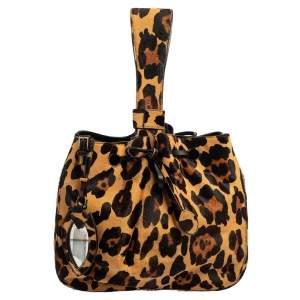 Alaia Brown/Beige Calf Hair Rose Marie Bucket Bag