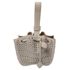 Alaia Grey Leather Rose Marie Embellished Laser Cut Bucket Bag