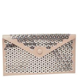 Alaia Beige Leather Grommet Embellished Envelope Clutch