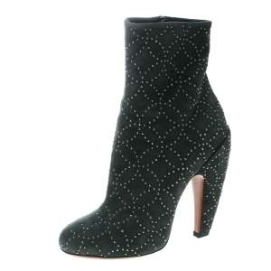 Alaia Grey Suede Studs Embellished Ankle Boots Size 37
