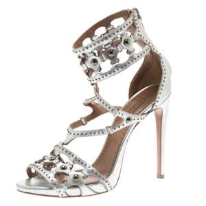 Alaia Metallic Silver Studded Leather Cutout Cage Sandals Size 38